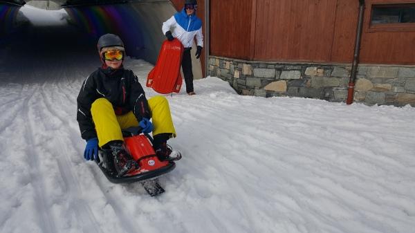 Enjoying the sledging